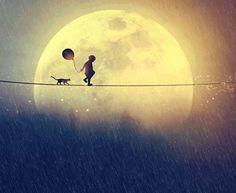 niño en la luna