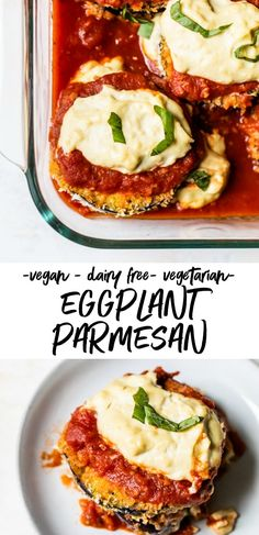 Vegan Eggplant Parmesan Easy baked Vegan Eggplant Parmesan made with crispy eggplant and topped with vegan mozzarella. It's a healthy way to squeeze in vegetables, and you'll go crazy for the vegan mozzarella made with nutritional yeast! Vegan Eggplant Parmesan, Crispy Eggplant, Vegan Dishes, Vegan Foods, Gourmet Foods, Vegan Meals, Vegan Eggplant Recipes, Clean Dinner Recipes, Easy Vegan Dinner