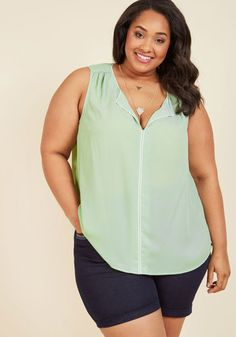 4150b9f30df Podcast Co-Host Plus Size Sleeveless Top in Mint Fashionable Plus Size  Clothing