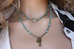 Seahorse  Long Necklace, Aqua Bead Crocheted Necklace  in Khaki, Bohemian  Jewelry