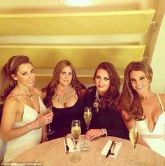 'Fun girlie time': Danielle happily pose for photos with her gal pals...