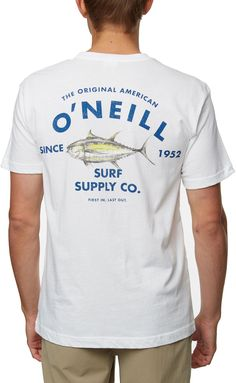 Look like a big catch in the O'Neill® Charlie Tuna T-Shirt. Constructed of cotton materials, this crew neck short sleeve shirt has graphics on the front and back for bold 360 degree style. Fit Standard Details Crew neck short sleeve shirt Soft-hand, screen-printed graphics on front-left chest and back Size: M. Color: White. Gender: Male. Age Group: Adult. Yeezy Outfit, Mens Yeezy, Fathers Day Crafts, Toddler Crafts, Tuna, Crew Neck, Gender, Graphics, Age