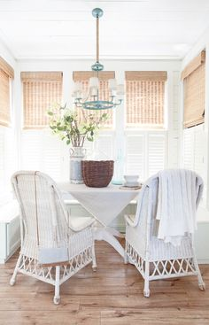 Layla from The Lettered Cottage used our plantation shutters combined with woven wood shades to keep her farmhouse eating area fresh! Windows, Wood Shutters, Decor, Window Treatments, Window Coverings, Wood Shades, Home, Sunroom Window Treatments, Home Decor