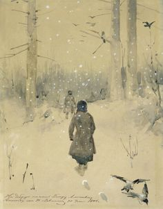 amare-habeo: Isaak Levitan (1860 - 1900, was a classical Russian painter) Winter Landscape. Hunters in the snow, 1876
