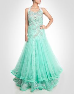 Pearl green tone gown with zardosi and rhinestone floral work. Shop Now: www.kimaya.in
