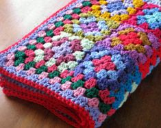 Patchwork Granny Squares Blanket Crochet Afghan Vibrant Throw