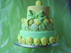 green macaron cake