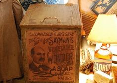 Primitive Antique Laundry Room Early Label Soap by redroosterbab, $79.99 - great to put magazines in or anythings else