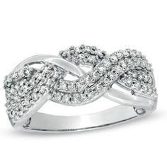 1/2 CT. T.W. Diamond Braided Ring in 10K White Gold