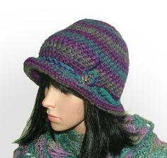 purple turquoise cloche 1 #crochet beanie be Renate Kirkpatrick