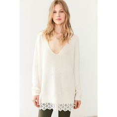 Kimchi Blue Hazel Lace-Trim V-Neck Sweater (51 CAD) ❤ liked on Polyvore featuring tops, sweaters, lace trim top, white ribbed sweater, v-neck top, white v neck sweater and v neck sweater