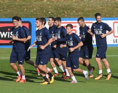 Players of Italy in action during a training session at Italy club's training ground at Coverciano on October 2, 2017 in Florence, Italy.