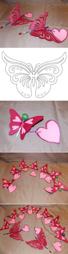 Creative Ideas – DIY Pretty Kirigami Butterfly Postcard from Template #craft #butterfly