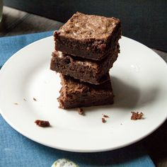 Dark Fudge Brownies. Dark and cakey with a fudgy interior. A recipe that includes rich cocoa powder and chopped semi-sweet chocolate.
