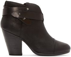 Ankle-high brushed leather boots in black. Round toe. Adjustable wraparound…