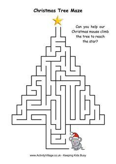Para imprimir - vários Christmas tree maze 4