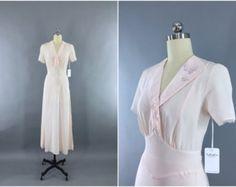 Vintage 30s 1930s Dusty Rose Silk Bias Cut by VintageClothingandCo