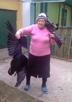 Whats wrong here... the fact that grandma has a huge gun... or that poor raven just lost a life?