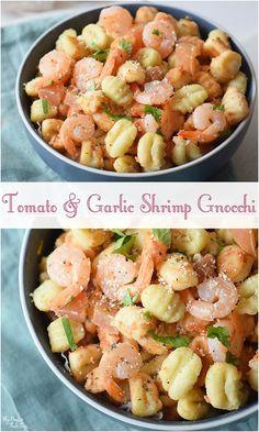 This dish will have you craving pasta. Grab the easy Tomato & Garlic Shrimp Gnocchi recipe now!