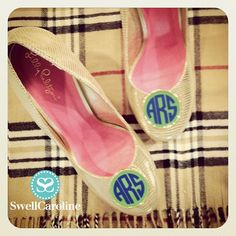 A match made in heaven! Lilly Pulitzer Flats + Modern Monogram Shoe Clips by Fornash. Available at SwellCaroline.com