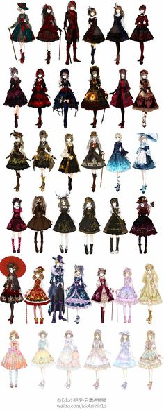 Lolita Dresses. And as well Steampunk - Great Drawing Reference for clothing and for Character Design (one of those Girls looks a little bit like Ciel from Black Butler. But maybe it's just the eyepatch...):