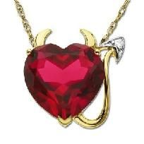 14K Gold Plated Devil Heart Pendant Necklace with Ruby CZ and Cubic Zirconia