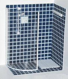 Revamped shower...(I wonder if a piece cut from a 2 or 3 liter softdrink or large plastic juice bottle could be used for glass enclosure? kj )