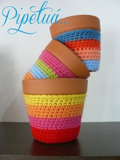 Maceta De Barro Decorada Crochet ¡dale Color A Tu Casa! - $ 46,00