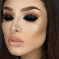 """Jessica Rose Silicz on Instagram: """"Black, glittery smokey eyes Eyes - @lorealparisofficial Infallible eyeshadow in Eternal Black (lid). @makeupgeekcosmetics eyeshadows in Peach Smoothie, Creme Brûlée, Frappe, Cocoa Bear and Americano. @nyxcosmetics Matte liquid liner. Brows - @anastasiabeverlyhills BrowWiz in Soft Brown and Dipbrow in Chocolate. Face - @makeupforeverofficial Ultra HD foundation. @zoevacosmetics Nude Spectrum Blush palette. @anastasiabeverlyhills Illuminator in So Hollywood."""