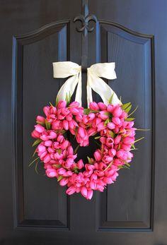 Heart Spring wreath - Valentines Day Wreath Tulips - Pink Tulip Wreath - Etsy Wreath - Wreaths for door - Door Wreath wreath - Door Wreaths We filled . Diy Valentines Day Wreath, Valentines Day Hearts, Valentines Day Decorations, Valentine Day Crafts, Printable Valentine, Homemade Valentines, Valentine Box, Valentine Ideas, Diy Valentine's Day Decorations