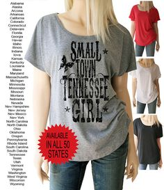 Small Town Girl Shirt. State T-Shirt. Small by SouthernGirlApparel