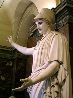 """So-called """"Velletri Pallas"""": Helmeted Athena. Marble with traces of red colour, Roman copy of the 1st century CE after a lost Greek bronze original of the 5th century. Found in 1797 in the ruins of a Roman villa near Velletri; restoration work includes hands.  Now in the Louvre."""
