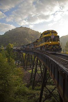 Loaded coal crosses the trestle at Slab Fork, West Virginia.