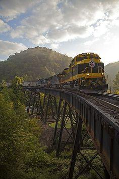 Loaded coal crosses the trestle at Slab Fork, West Virginia.