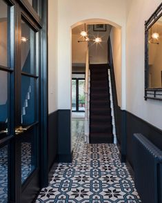 15 Stairway Lighting Ideas For Modern And Contemporary Interiors Most Popular Light for Stairways Tiled Hallway, Hallway Flooring, Hall Tiles, Flooring Tiles, Wainscoting Hallway, Dado Rail Hallway, Tiled Mirror, Hallway Paint, Black Wainscoting
