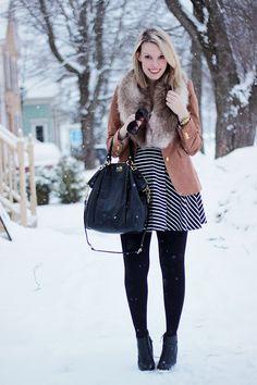 blazer, faux fur, stripes, and a great bag