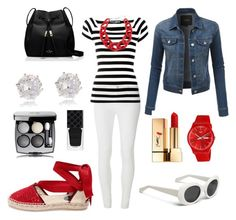 """""""Lucky Stripes"""" by laineys on Polyvore featuring Dorothy Perkins, Dolce&Gabbana, Oscar de la Renta, LE3NO, Swatch, DIANA BROUSSARD, Kate Spade, Yves Saint Laurent, River Island and Gucci"""