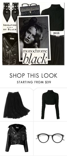 """Mission Monochrome: All-Black Outfit V"" by vampirella24 ❤ liked on Polyvore featuring WithChic, Pierre Balmain, Balenciaga, Tom Ford, Alexander McQueen and Vision"
