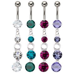 316L, Prong Set, Dangle, Gem, Belly Rings #316L #gem #navels #piercing #jewelry #BodyVibe #jeweltweets