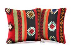SET 2 Piece Vintage Hand Woven Kilim Pillow Cover  by pillowcome, $69.00