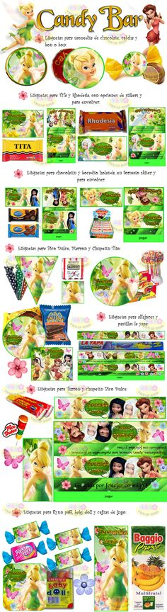 Kit Imprimible Tinker Bell Candy Bar Campanita Invitaciones - $ 49,90 en Mercado Libre