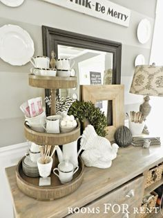 Wooden 3-tiered tray, perfect for a hot chocolate bar! Holiday Serving, Hostess @paintedfox1