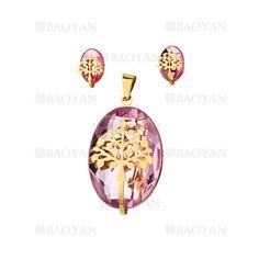 juego dije y aretes de cristal rosado con arbol dorado acero inoxidable -SSSTG053838
