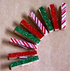 Christmas clothespins - Great Idea to make, string together and hang on the wall to display your Christmas cards from. over a door, across the windows.