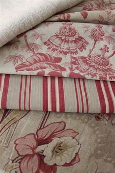 Antique French country fabric / materials ~ ideal for French country projects French Country Fabric, French Fabric, French Country Decorating, Ticking Fabric, Linen Fabric, Linens And Lace, Vintage Textiles, Fabric Patterns, Decoration
