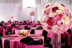 Pink and black wedding reception.