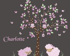 Nursery Wall Decals, Nursery Decal, Tree Wall Decal with Sheep, Owls, Birds,  Baby Wall Decals - 573