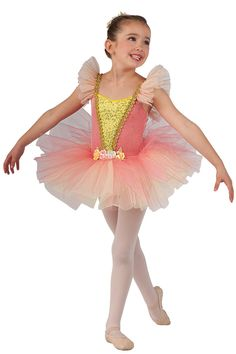 15206 New Dawn | Kids Showcase / First Performance / Dance Costumes / Recital Wear | Dansco 2015 | Glitter printed coral velvet and ivory spandex leotard with gold spotlight sequin on maize spandex insert. Attached coral glimmer tulle over maize chiffon tutu and ruffle sleeves. Gold braid and flower trim. Headpiece included.