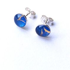 Cobalt Blue and Gold - Sterling Silver Stud Earrings - 6mm