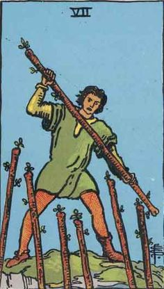 Seven of Wands is a Minor Arcana tarot card showing a person striving to get the upper hand in a demanding situation or situations. Usually this card carries the meaning of striving to maintain or fighting over one's position, making a strong effort to keep something which is important. Note the superior position of the character. He takes up or maintains an equivocal position with regard to a number of issues or pressures in order to overcome them. The key meanings of the Seven of Wands…
